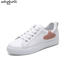 цена на WHOHOLL  2019 Women Casual Shoes Fashion Breathable PU Leather Platform White Soft Footwears Sneakers Women  Tenis Feminino