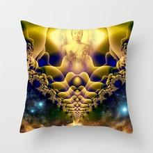 Fuwatacchi Buddha Home Decor Cushion Cover Gold Indian Style Bohemia Lotus Decorative Pillows Decoratives Case