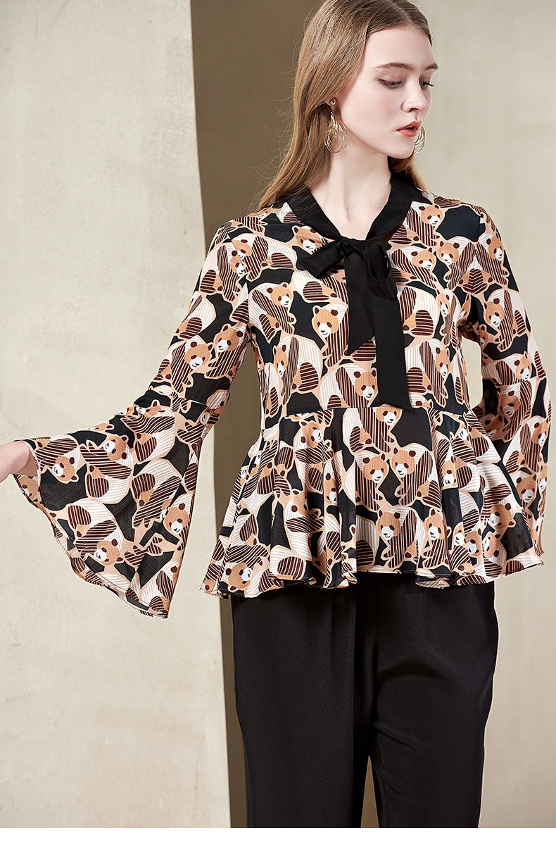 100Seide Mode Crepe Shirt Stoff aus Damen neue Blusas reinem Druckmuster Design SMVpGULqz