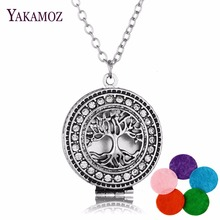 2017 Aromatherapy Necklace Silver Color  with Tree of Life Essential Oils Diffuser Loket Necklace for Women Party
