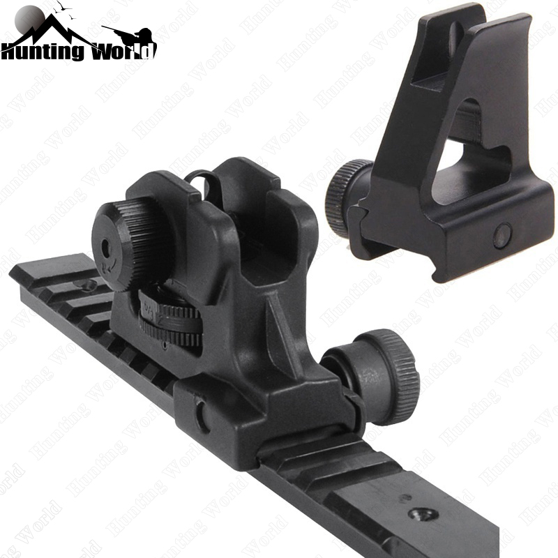 Tactical High Profile Front Sight Backup Iron Rear Sight Set W/ Full Windage Elevation For Hunting Airsoft AR15 Rifle Accessory
