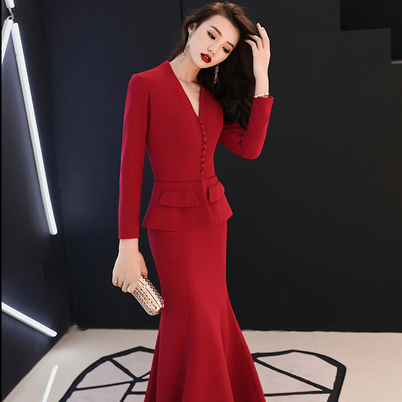 Formal Evening Dress 2019 Red V-neck Long  Sleeves Mermaid Floor Length Muslim Women Party Dress  Plus Size Robe De Soiree E447