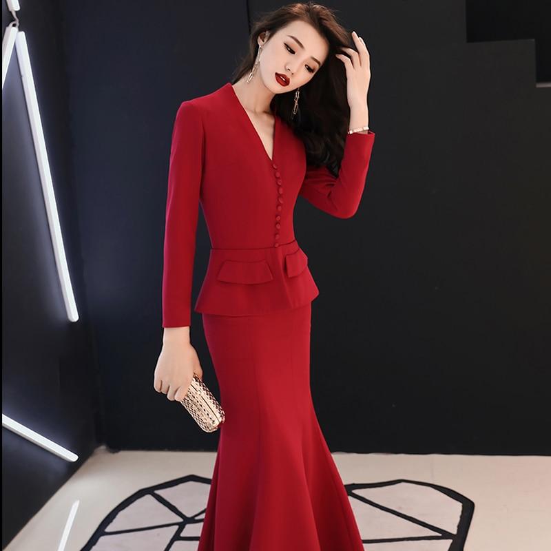 Formal   Evening     Dress   2019 Red V-neck Long Sleeves Mermaid Floor Length Muslim Women Party   Dress   Plus Size Robe De Soiree E447