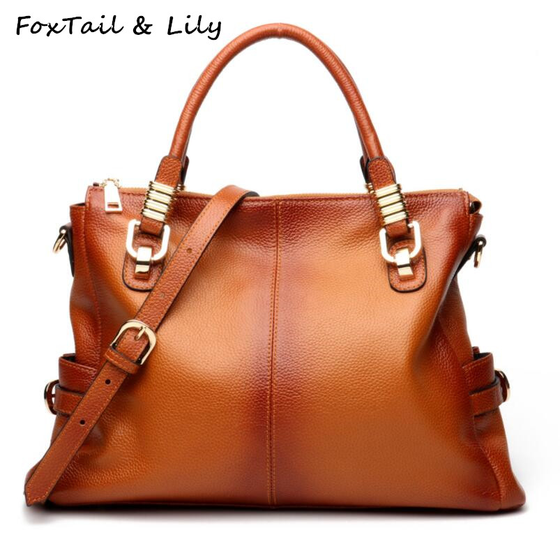FoxTail & Lily Brand 2018 Women Genuine Leather Handbags Gradient Color Real Leather Tote Bag Ladies Shoulder Crossbody Bags
