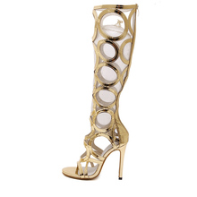 2017 New Sexy Knee High Gladiator Sandals Women Cut outs 11 cm High Heels Shoes Woman PU Leather Summer Boots Gold XWF0565-5