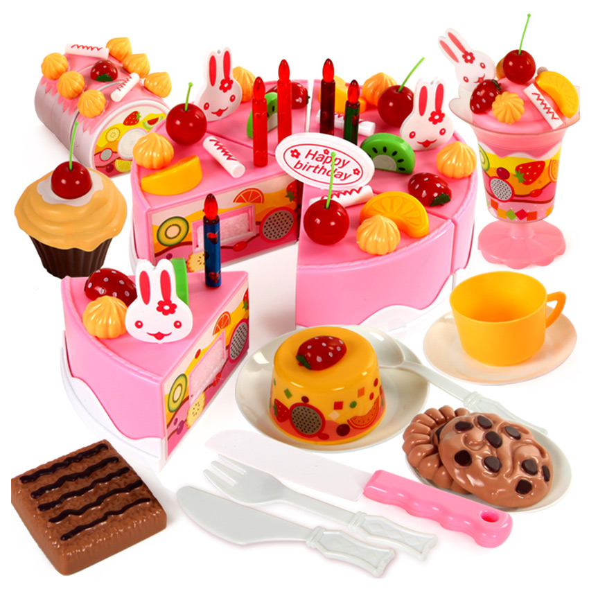 75pcs Birthday Cake Pretend Play Food Toy Set Kitchen Cutting Toy kit With Fruits Candle Play house toy gift for Kids Girl Boys birthday cake