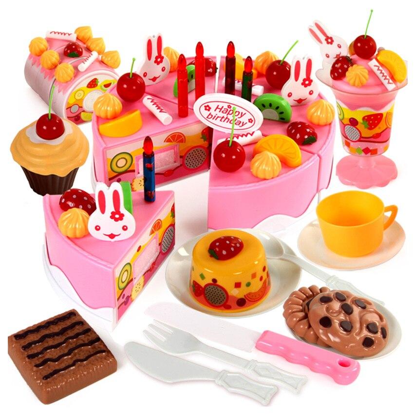 Kitchen Cutting Birthday Cake Toys Pretend Play Food PlasticToy Kids Xmas Gifts