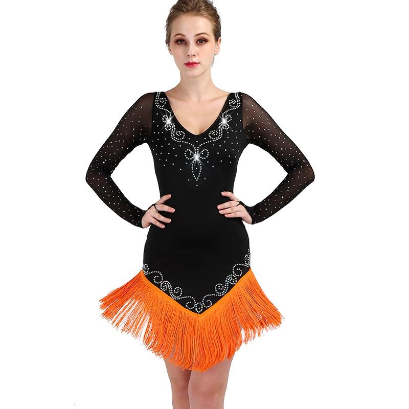 latin dance competition dresses women samba rumba tango latin dance dress  latin dance fringe tassel black 0c415eea12cf