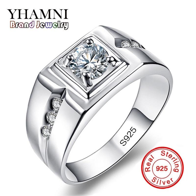 YHAMNI Classique Hommes Anneau Ensemble 6mm 1 Carat CZ Diamant Bague de Fiançailles 925 Solide Argent Anneau De Mariage pour Hommes bijoux En Gros RNJ29