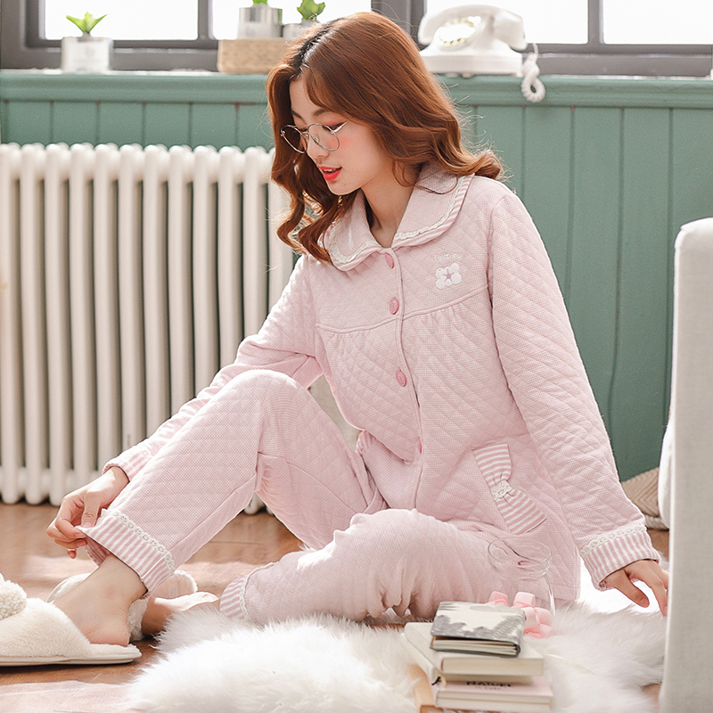 Pajamas women's autumn and winter thick long-sleeved laminated air cotton home service female warm plus size thin quilted suit