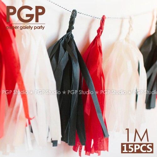 [PGP] 100cm, Rödvitt & Svart Tissue Paper Tassel Garland, temabarn - Semester och fester