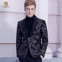 Fanzhuan Free Shipping New Male men's fashion casual Palace 2017 winter Wind Baroque embroidery suit British style 710220