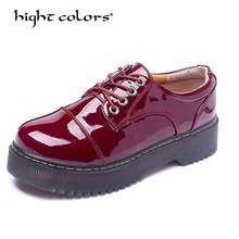 England Style Women's Oxfords Fashion Autumn Shoes Woman Round Toe Flats Platform Casual Vintage Shoes punk Red calzado mujer