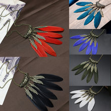 Women Hot Sale Fashion Ethnic Style Feather Pendant Retro Leaves Vintage Necklace Sweater Chain Necklaces & Pendants Bijoux(China)
