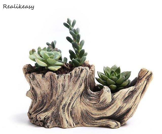 Criativo De Madeira Antiga Flor Vasos Para Plantas Suculentas Imitação Enfeites Mesa Zh011