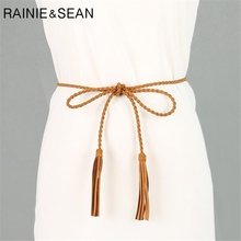 RAINIE SEAN Thin Belt Women Pu Leather Braided Belt For Women Spring Summer Self Tie Tassel Camel Ladies Dress Belt With Fringe self tie belt