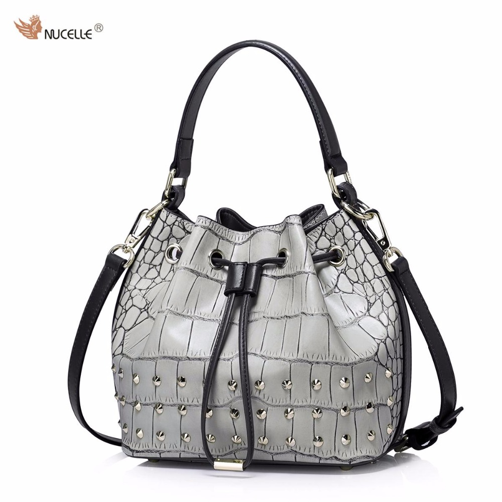 NUCELLE Brand New Design Fashion Punk Rivets Cow Leather Women Handbag Shoulder Drawstring Bucket Bags Gift For Girl