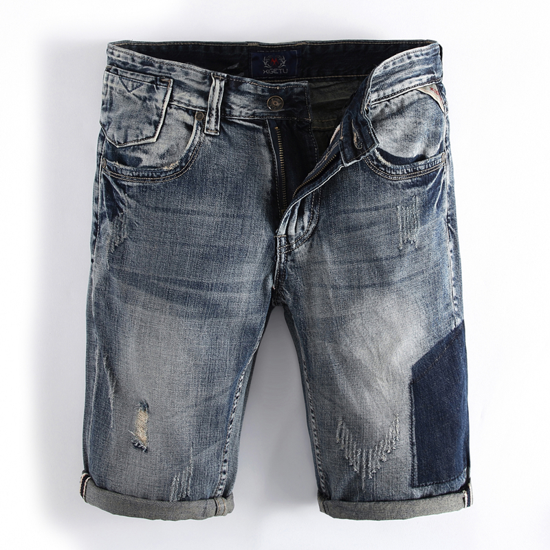 Summer Style England Ripped Shorts Jeans Men High Quality Cotton Brand Clothing Knee Length Patchwork Jeans Shorts RL111 brand clothing men s destroyed jeans shorts high quality straight knee length designer casual blue ripped short jeans men r109