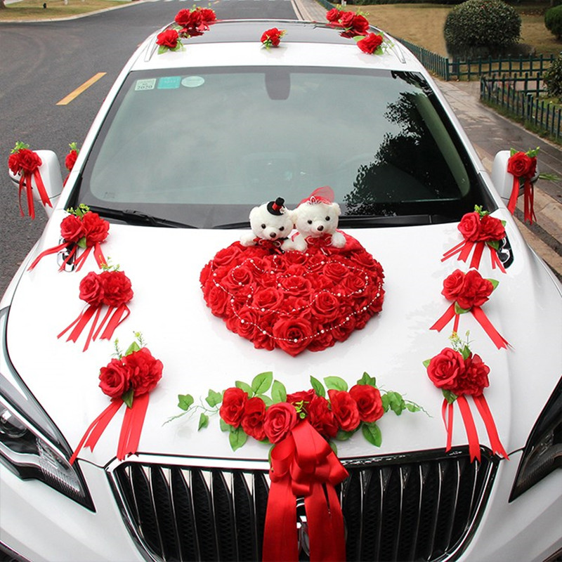 Искусственные Свадебные цветы автомобиль украшение искусственные цветы набор Декоративные цветы венки поплавок Декор свадебные Композиц... - 2