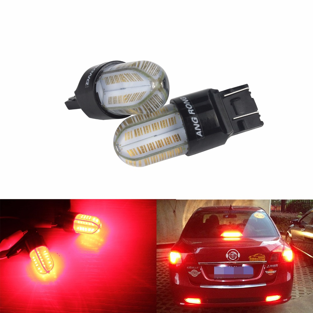 ANGRONG 2x T20 582 7440 W21W Car LED Bulb 8 SMD COB LED 580 7443 W21/5W Tail Brake Stop Light DRL Lamps Red 12V image