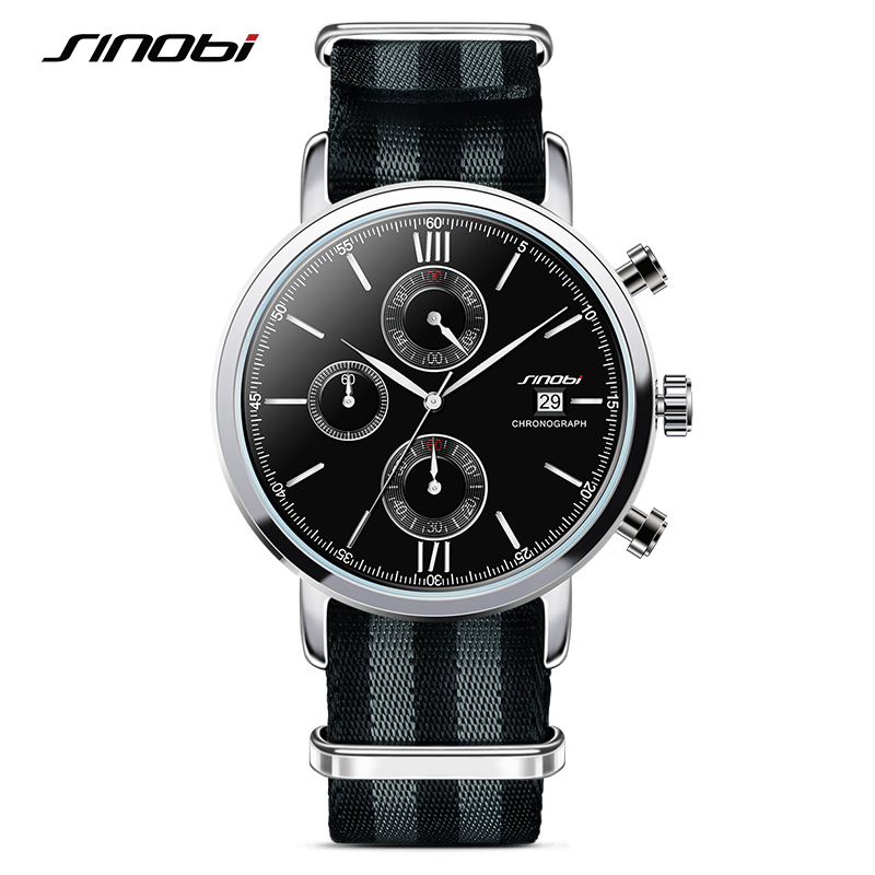 SINOBI Sports Chronograph Men Wrist Watches NATO Strap Nylon Watchband Luxury Military Males Geneva Quartz Clock