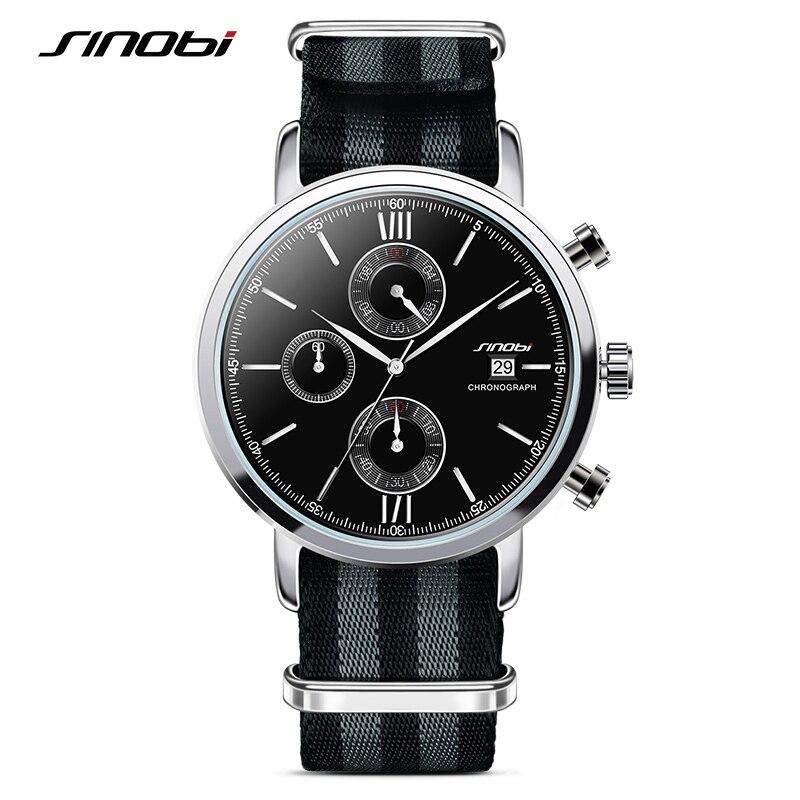 23327da5df4 SINOBI Sports Men Chronograph Relógios de Pulso Cinta NATO Nylon Pulseira  de Luxo Homens Militar Genebra