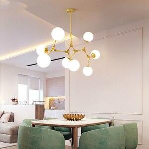 Image 3 - Moderne LED lustre salon lampes suspendues nordique chambre déco luminaires fer art éclairage restaurant lampes suspendues