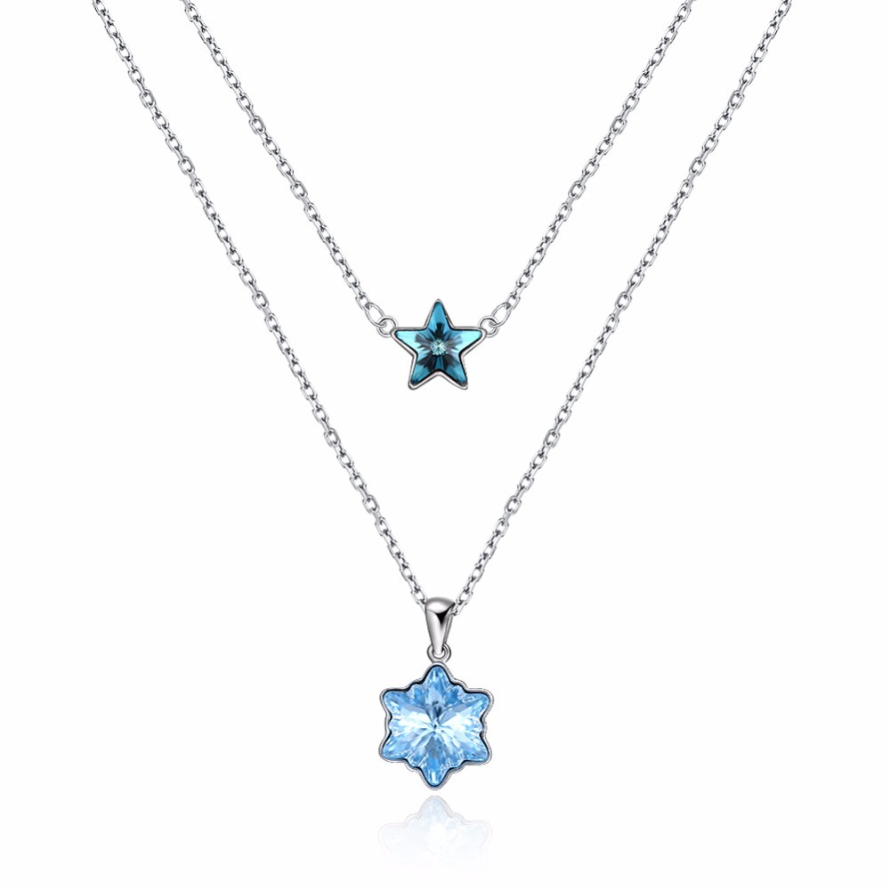 S925 Fashion Sterling Silver Crystal From Swarovsk Elements Star Snow Flakes Wearing Sterling Silver Necklace Wedding Jewelry S925 Fashion Sterling Silver Crystal From Swarovsk Elements Star Snow Flakes Wearing Sterling Silver Necklace Wedding Jewelry