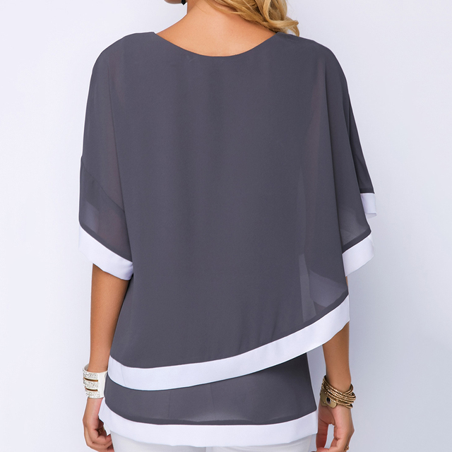 plus size Blouses for women 4xl 5xl Patchwork Double layer Tops Casual Batwing tunic 2019 Autumn Large size Chiffon Shirts