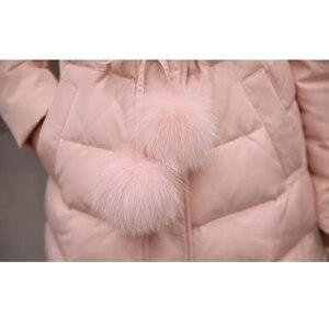 Image 5 - 2020 새로운 겨울 자 켓 여성 긴 소매 후드 아래로 코 튼 코트 무릎 길이 머리 공 패션 핑크 겉옷 파 카 슬림