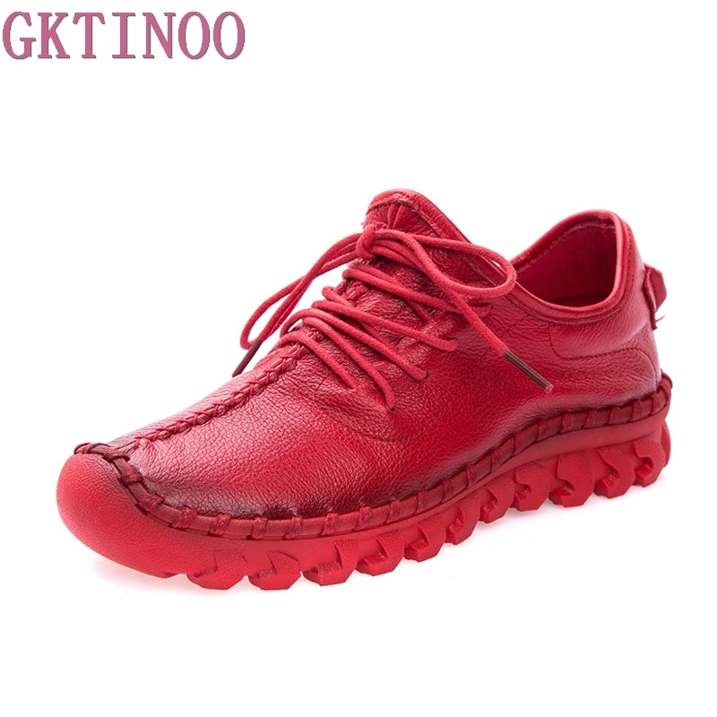 GKTINOO Women s Platform Flats Shoes Genuine Leather Lace Up Round Toe Female Casual Shoes for