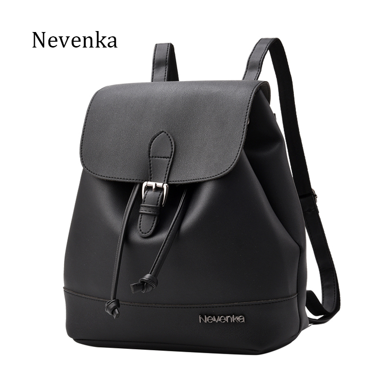 Nevenka Women Fashion Backpack Brand Design Backpacks PU Leather Shoulder Bag Satchel School Bags Soft Sac 2018 New concise women s satchel with double zip and pu leather design