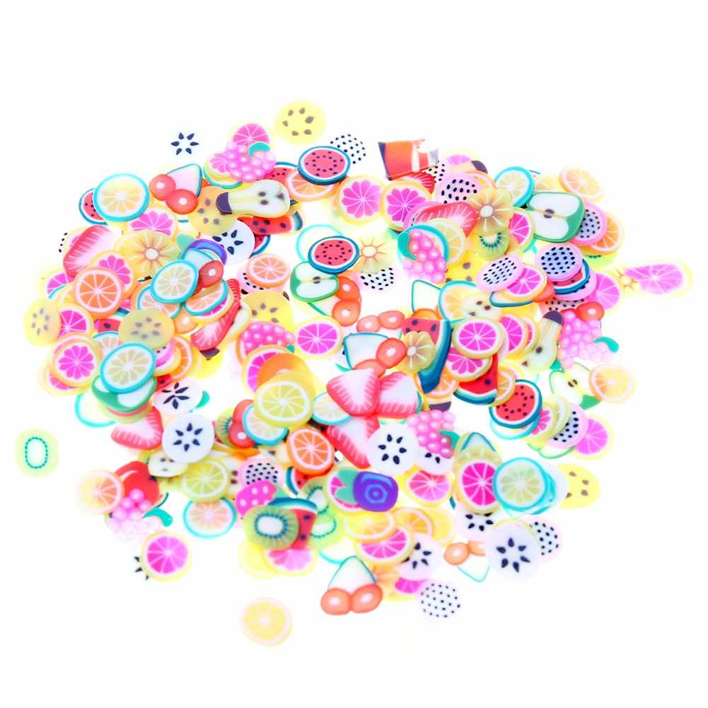 250pcs Orange Stickers Fruit/Flower/Animal 3D Polymer Clay Tiny Fimo Fruit slices Nail Art DIY Designs Nail Art Decorations