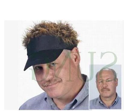 מכירה לוהטת חידוש בייסבול כובע מזויף כשרון שיער מגן שמש כובעי גבר של נשים פאה פאה חיצוני מצחיק שיער אובדן מגניב גולף Caps