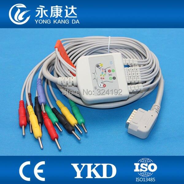 Livraison gratuite!! Kenz (PC-109) d'une seule pièce câble ECG, 10 conduit, CEI n résistance Din 3.0 plug fils conducteurs
