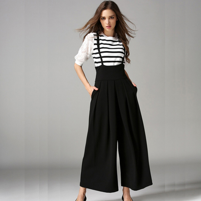 Women Wide Leg Pants With Strap 2016 Summer Ankle-Length Loose Pants Female Euro Style High Waist Ladies Pant Pantalones Mujer