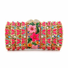 2016 New designer handbags high quality Cluth European luxury diamond wax hollow dinner lady flower evening bag vintage handbag