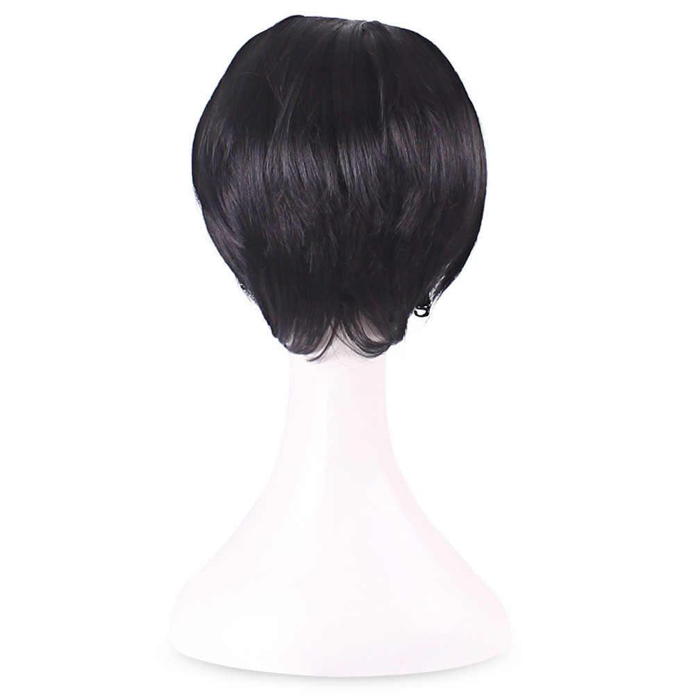 Искусственные короткие парики короткие прямые волосы термостойкие синтетические натуральные парики для косплея для мужчин (черный) черный