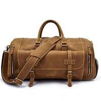 IMIDO crazy horse genuine leather traveling outdoor sport bag shoulder bag luggage bag big capacity bag