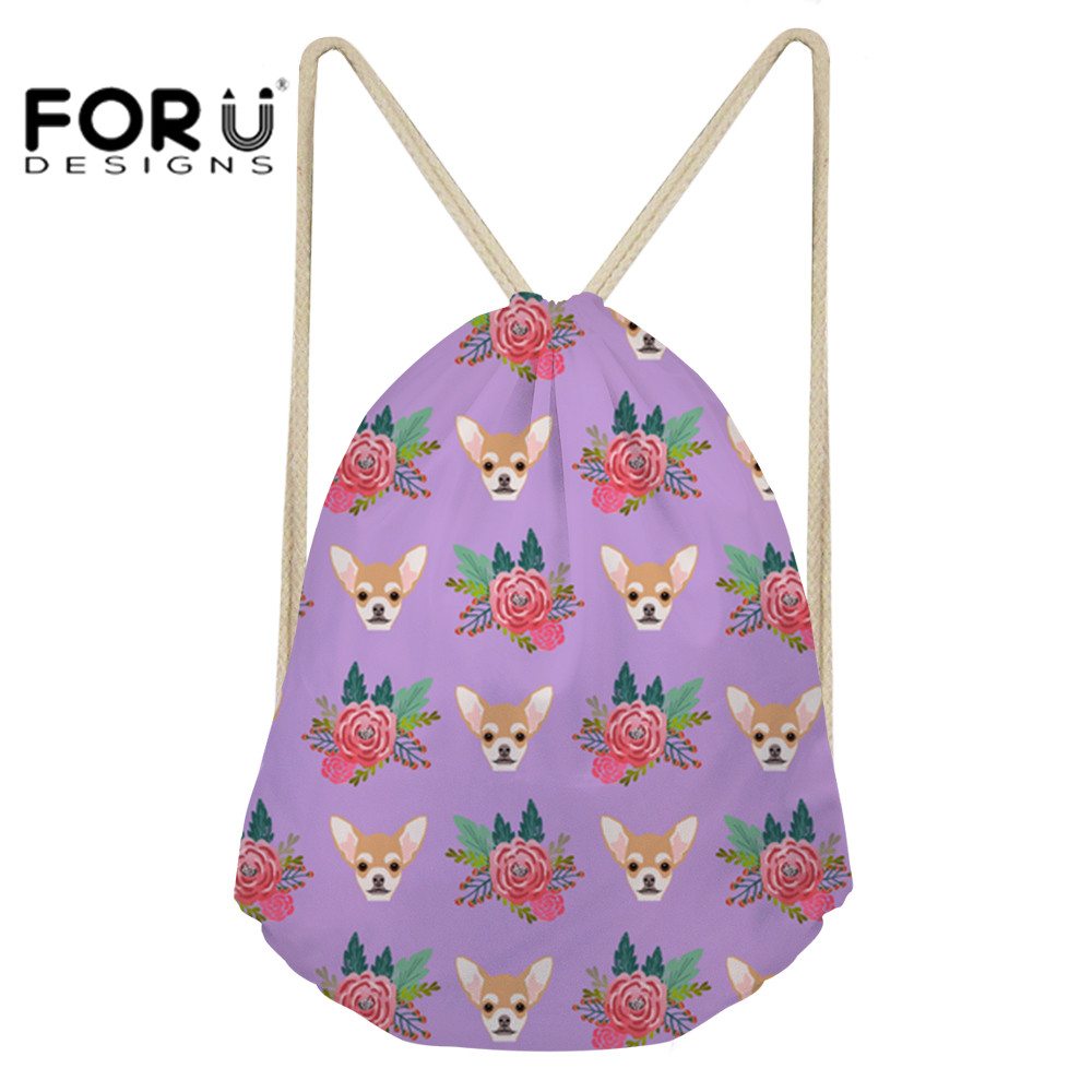 FORUDESIGNS Drawstring Bags Small Chihuahua Floral Dogs Printing Kids Backpack For Girls Fashion Storage Bags Women Mochila 2018