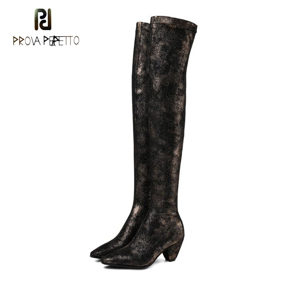Prova Perfetto new 55cm high top suede stretch over the knee boots women pointed toe spike heel bling bling sexy lady long boots pointed toe over the knee long boots apricot black gray faux suede thin high heel long boots sexy stretch fabric lady sock boots