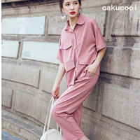 Cakucool Women Tracksuit Summer Casual 2pcs Blazer Set Short Sleeve Shirt And Long Pant Set Work