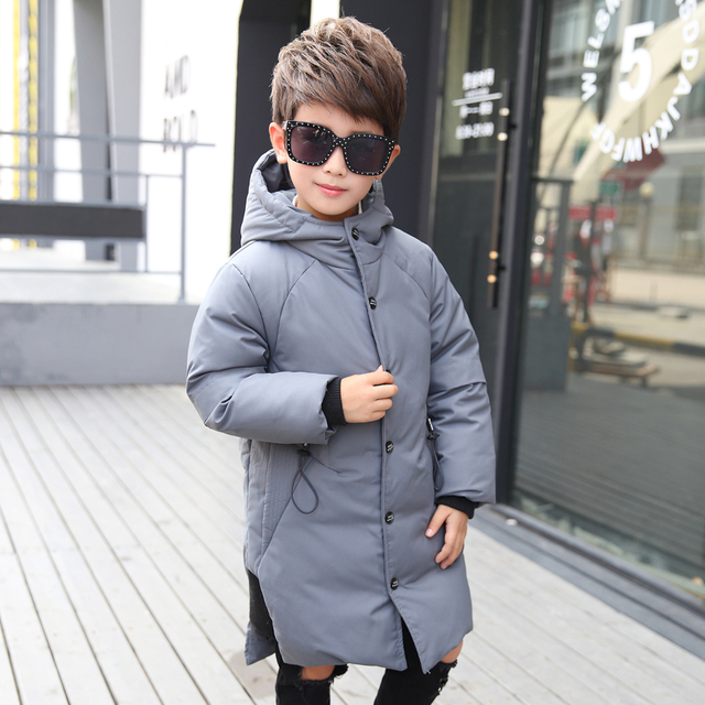 2018 Children's Down Jacket Boys Fashion Hooded Long Jacket Boy Thicker New Children's Clothing Down & Parkas  Winter Coat