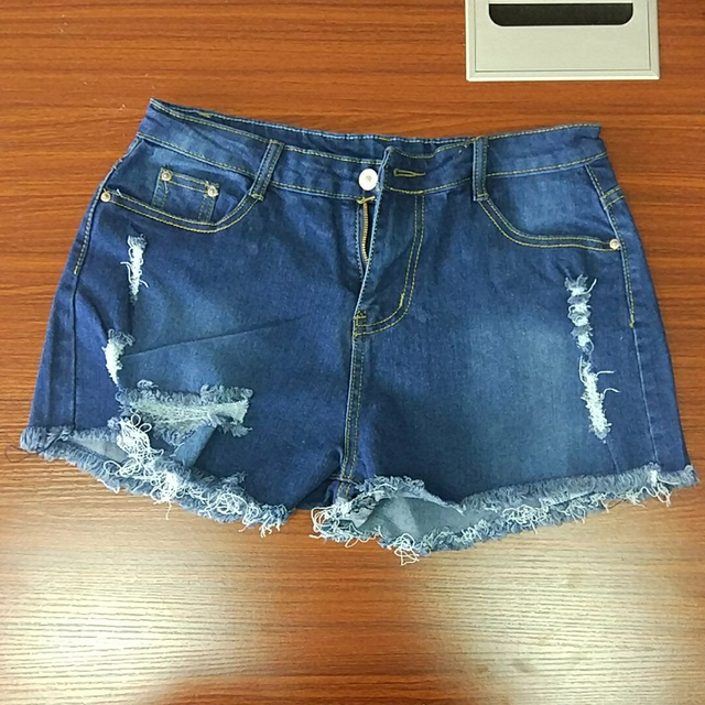 Vintage Jeans Shorts Denim Shorts Women Ripped Hole Fringe Blue Casual Pocket Summer Girl Hot Shorts