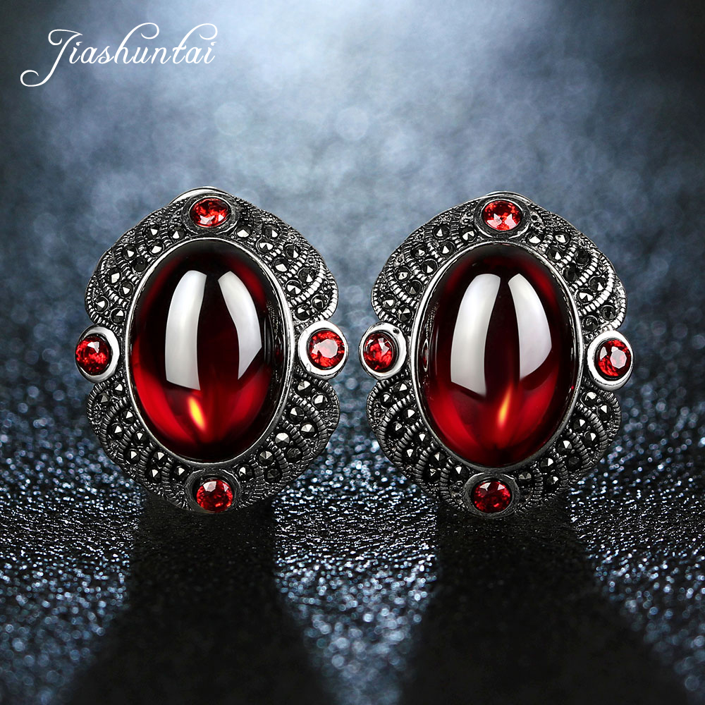 JIASHUNTAI Vintage Garnet Gemstones 100% 925 Sterling Silver Clip Earrings For Women Retro Fine Jewelry