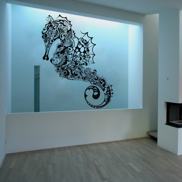 Home Decoration Seahorse Vinyl Wall Decal Fish Sticker Ocean Wall Art  Graphics 267cm X127cm