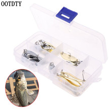 OOTDTY 16 Pcs/set Gold Silver Color Fishing Baits Sequins Set Variety Type Sequin Hook With Box Bait Tool Tackle Accessories