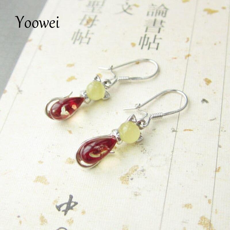 Yoowei boucles d'oreilles en ambre naturel pour femmes belle forme de chat boucles d'oreilles pendantes bijoux en ambre véritable Pendientes ambar en gros