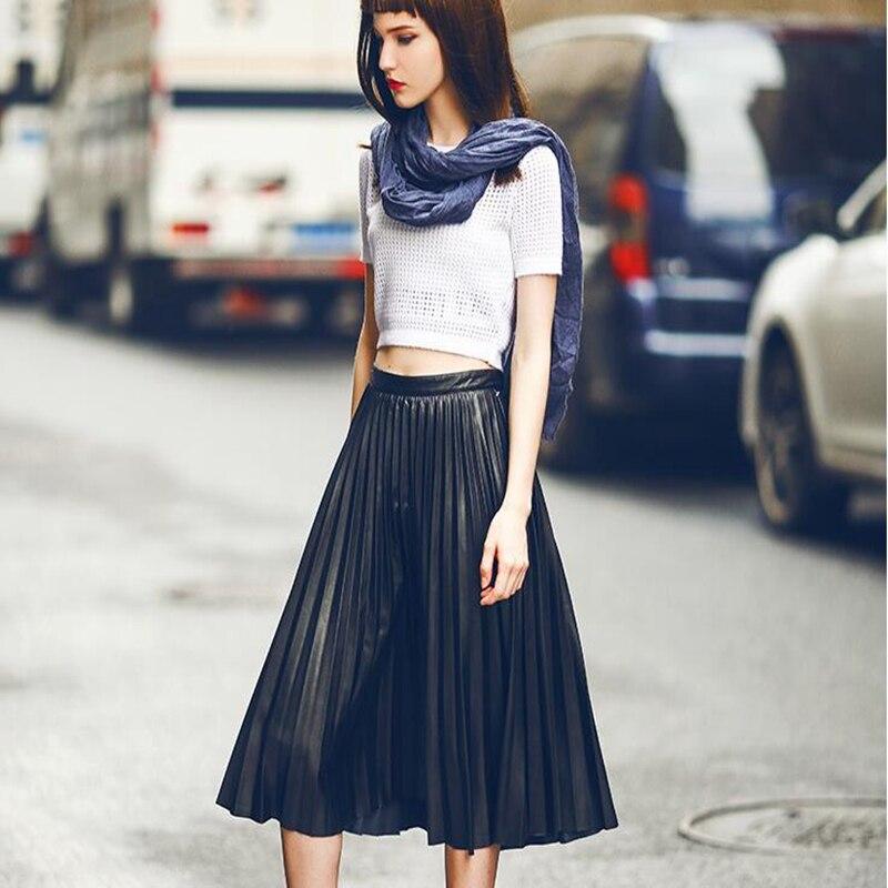 Street Style Black Woman: Women Black PU Pleated Skirt 2016 Spring Fashion High