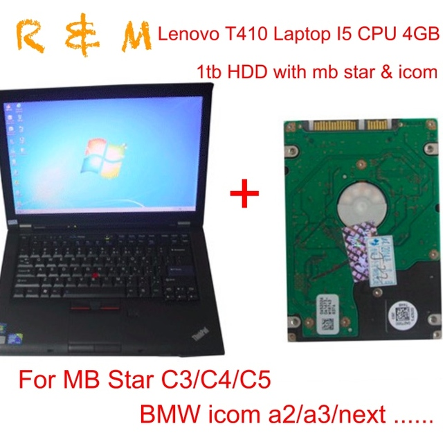 US $186 12 |lenovo T410 laptop diagnostic laptop with 1tb HDD MB Star  C3/C4/C5 for BMW icom a2 a3 next T410 I5 CPU 2 53GHz 4GB WIFI DVDRW-in Car